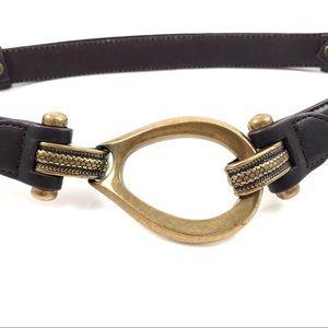 VTG brown leather adjustable belt w/brass buckle